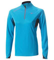 Беговая рубашка женская Mizuno WarmaLite Zip LS Tee синяя