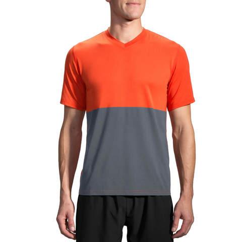 Brooks Fly By Ss Top футболка для бега мужская оранжевая-серая