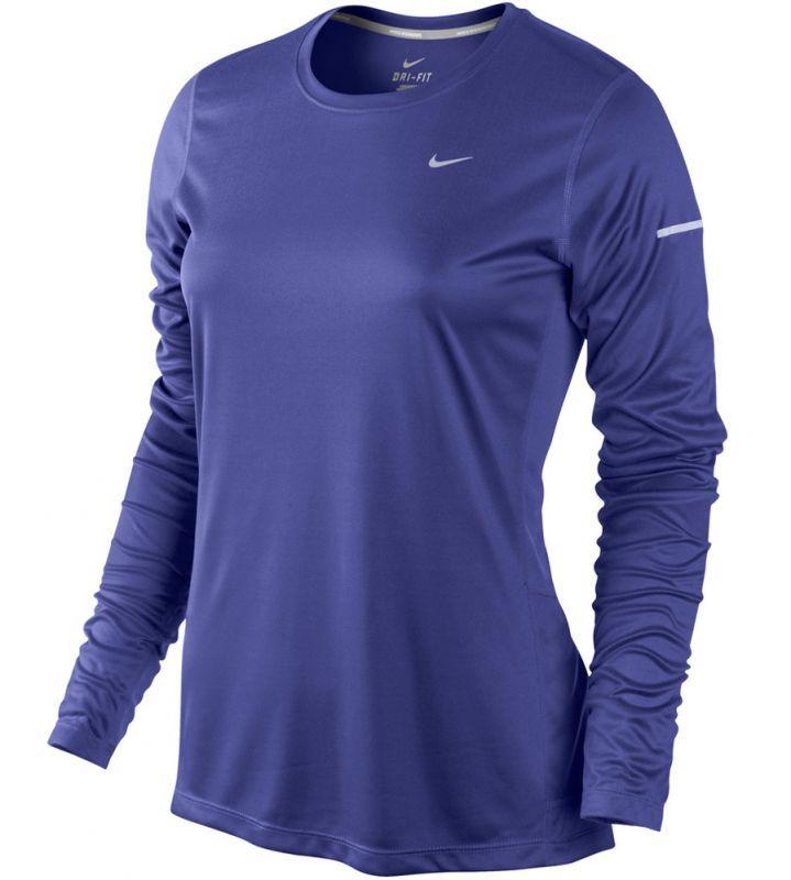 Футболка Nike Miler LS UV Top (W) /Рубашка беговая синяя