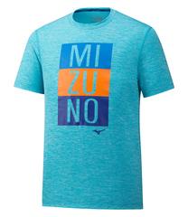 Mizuno Impulse Core Blocks Tee футболка для бега мужская голубая