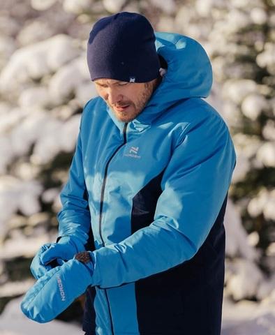 Теплый лыжный костюм мужской Nordski Base синий-темно-синий