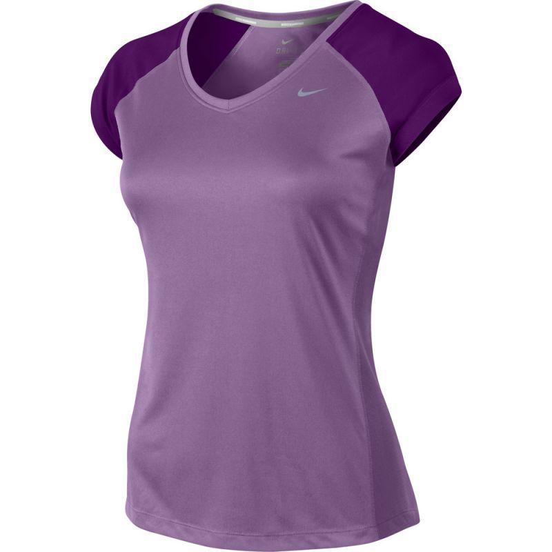 Футболка Nike Miler SS V-Neck Top (WOMEN) фиолетовая