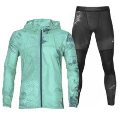 Asics Packable Base Layer Graphic костюм для бега мужской голубой-черный