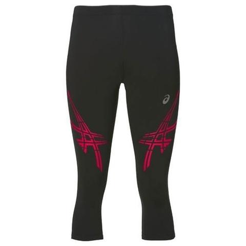 Беговые тайтсы женские Asics Stripe Knee черные-розовые