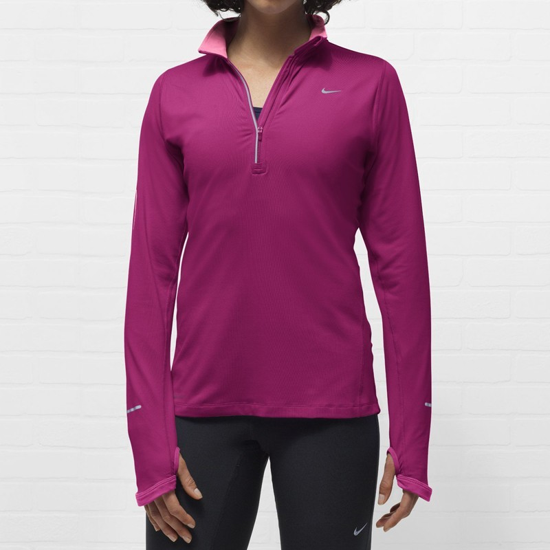 Футболка Nike Element 1/2 ZIP (W) /Рубашка беговая фиолетовая - 3