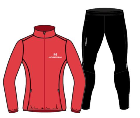 Nordski Motion Premium беговой костюм женский Red-Black