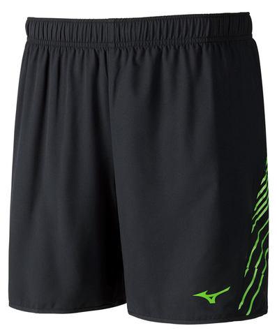 Mizuno Venture Square 5.5 шорты для бега мужские черные-зеленые