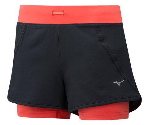 Mizuno Mujin 4.5 2 In 1 Short шорты для бега женские коралловые-черные