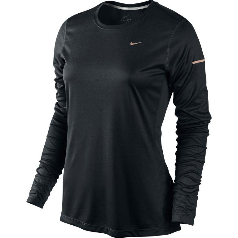 Футболка Nike Miler LS Top (W) /Рубашка беговая чёрная