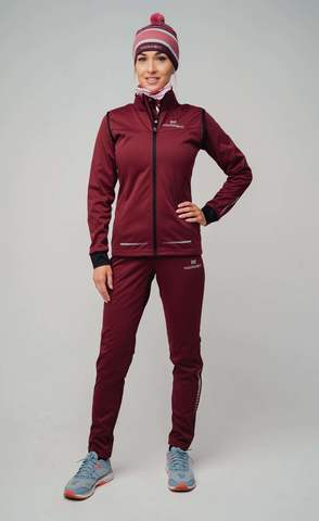 Nordski Pro разминочные лыжные брюки женские бордо