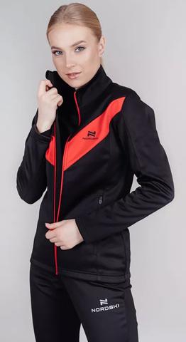 Утепленный беговой костюм женский Nordski Base black-red