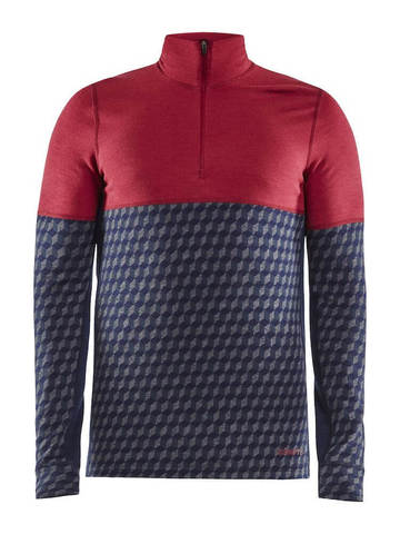Craft Merino 240 термобелье рубашка c шерстью мужская красная-синяя