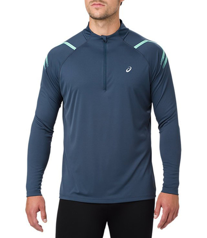 Asics Icon 1/2 Zip LS мужская рубашка для бега синяя