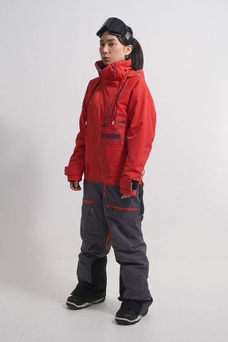 Женский сноубордический комбинезон Cool Zone INTRO красный-асфальт