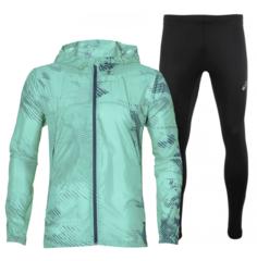 Asics Packable Silver костюм для бега мужской бирюзовый-черный