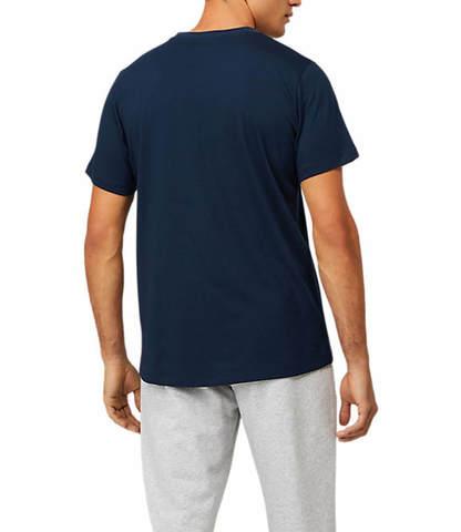 Asics Big Logo Tee футболка для бега мужская темно-синяя