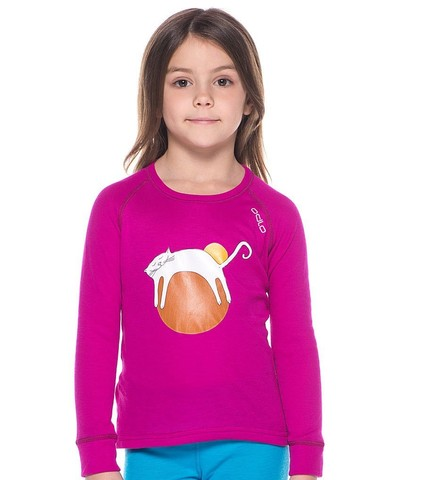 Odlo Warm Trend детская термофутболка с длинным рукавом малиновая