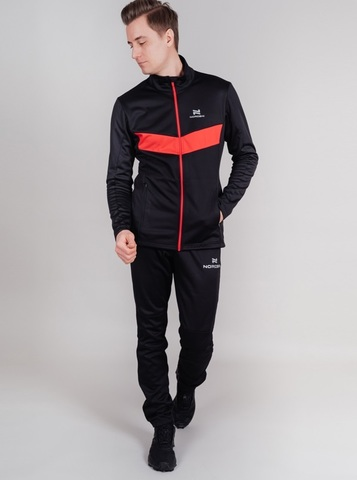 Nordski Base мужской беговой костюм black-red