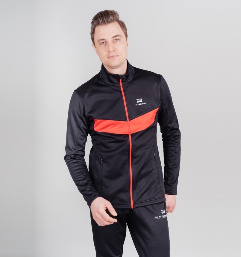 Nordski Base мужской беговой костюм black-red - 2
