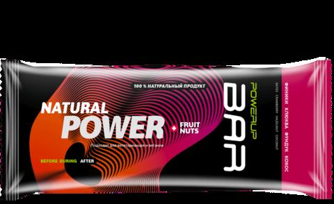 Энергетический батончик PowerUp Bar Fruit+Nuts клюква, фундук, кокос