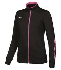 Толстовка женская Mizuno Sweat Fz черная-розовая