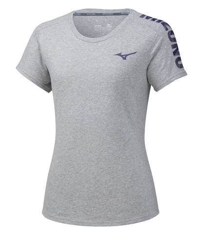 Mizuno Heritage 06 Tee футболка для бега женская светло-серая
