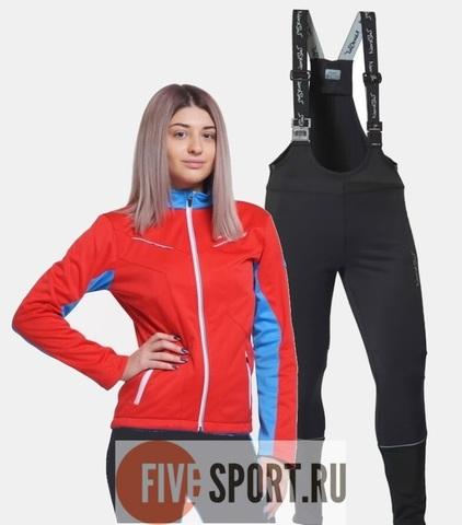 Nordski National Active разминочный лыжный костюм женский Red-Black