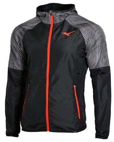 Mizuno Printed Hoodie Jacket куртка для бега мужская черная-серая
