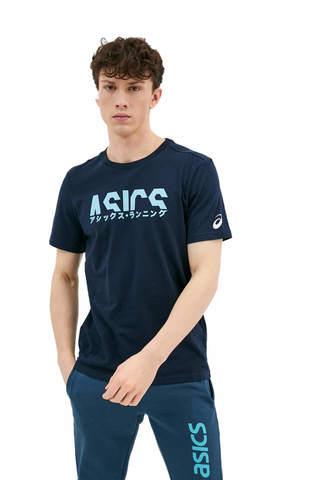 Asics Katakana Graphic Tee футболка для бега мужская темно-синяя