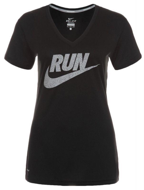 Футболка Nike Legend V-Neck SS Run Swoosh (WOMEN) чёрная