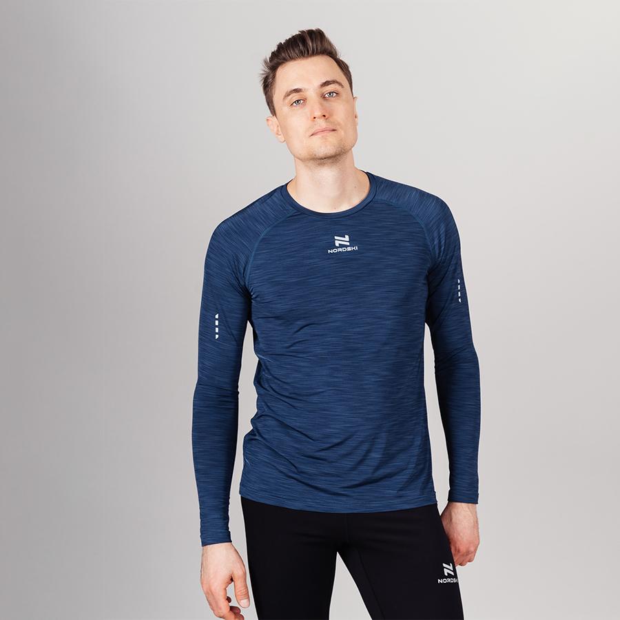 Nordski Pro футболка тренировочная мужская с длинным рукавом blue
