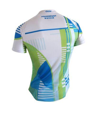Olly Sport футболка беговая белая-синяя-лайм