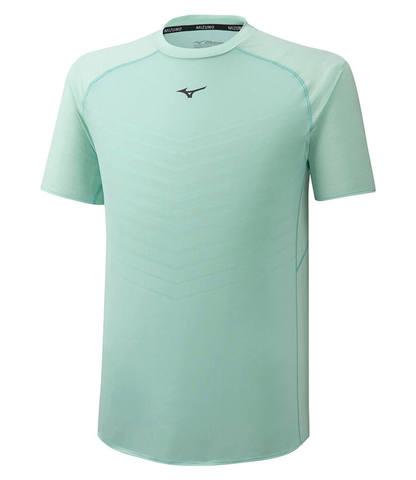 Mizuno Jacquard Mesh Tee беговая футболка мужская голубая