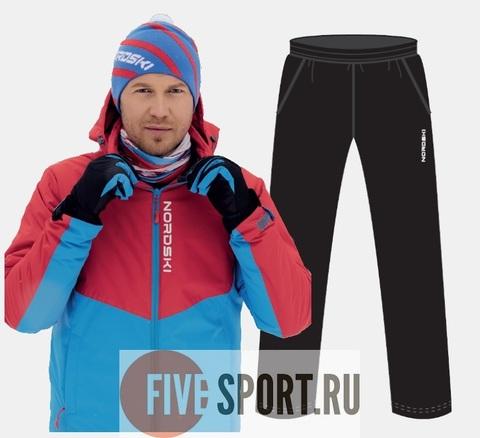 Nordski Montana RUS утепленный лыжный костюм мужской красный-синий