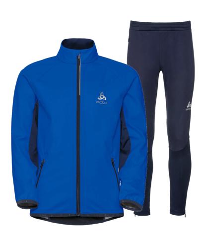 Odlo Stryn Print детский лыжный костюм blue-navy