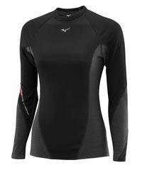 Термобелье рубашка женская Mizuno Virtual Body Crew черная-серая