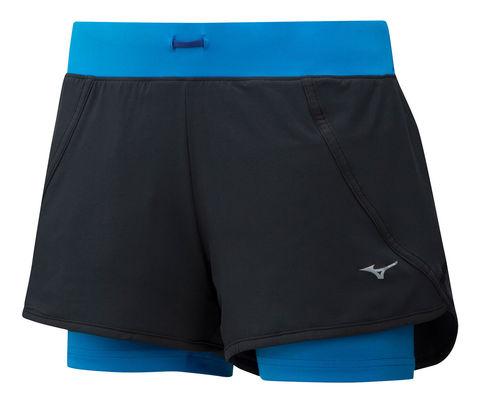 Mizuno Mujin 4.5 2 In 1 Short шорты для бега женские синие-черные