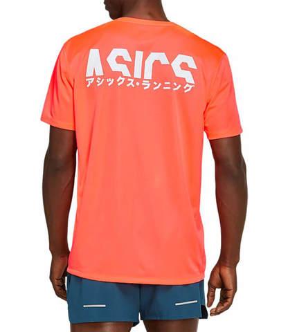 Asics Katakana Ss Top футболка для бега мужская коралловая