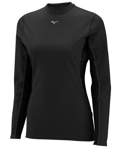 Термобелье рубашка женская Mizuno Middleweight Crew черная