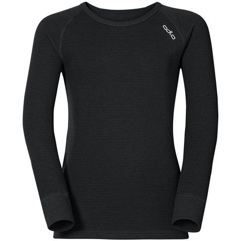Odlo Warm детское термобелье футболка с длинным рукавом черная
