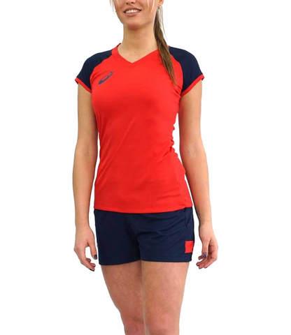 Asics Volleyball Cap Sleeve Set  женская волейбольная форма красная