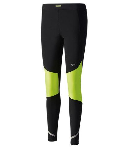 Тайтcы для бега женские Mizuno Static Bt Windproof черные-зеленые