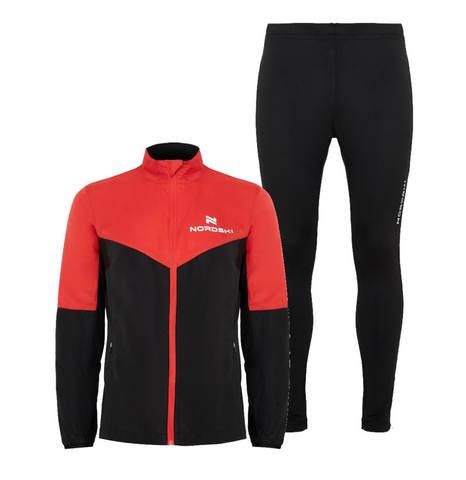 Nordski Sport Premium костюм для бега мужской red-black