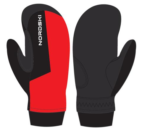 Nordski Jr Arctic WS теплые варежки red-black