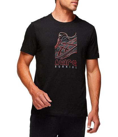 Asics Running Graphic Tee футболка для бега мужская черная