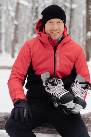 Nordski Montana зимний лыжный костюм мужской красный-черный