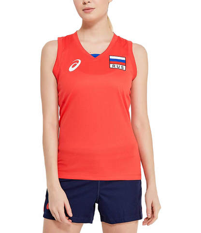 Asics Russia Sleeveless Tee женская волейбольная майка красная
