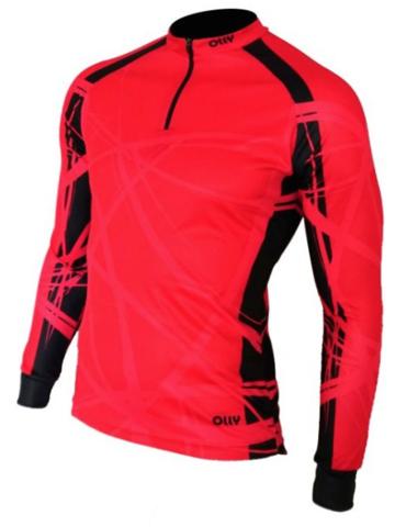 Olly Bright Sport Long футболка с длинным рукавом красная-черная