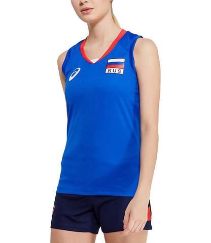Asics Russia Sleeveless Tee женская волейбольная майка синяя