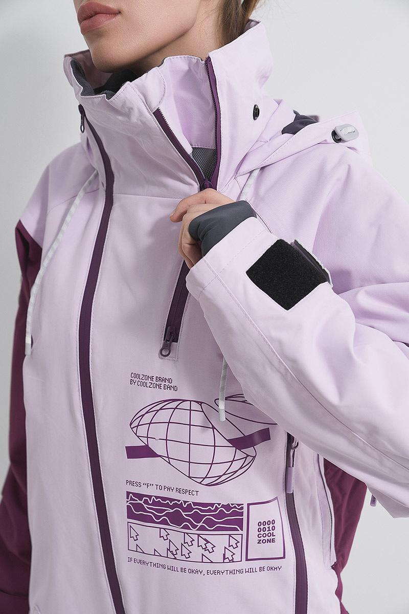 Cool Zone INTRO комбинезон женский сноубордический лавандовый-бордовый - 7